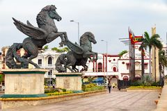 Pegasus statyer i Cartagena Arkivfoton