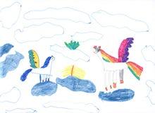 Pegasus sur les nuages Image libre de droits
