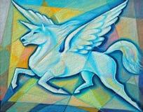 Pegasus Unicorn. Cubist painting of a winged, Pegasus Unicorn Royalty Free Stock Photo