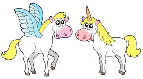 Pegasus and unicorn. Vector illustration Royalty Free Stock Photo