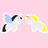 Pegasus and Unicorn. The horses from fairy-tales royalty free illustration