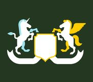 Pegasus and Unicorn Shield heraldic symbol. Sign Animal for coat. Of arms. Vector illustration Stock Image