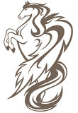 Pegasus vector. Rearing up winged horse illustration - monochrome outline Stock Photo