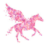 Pegasus vector symbol. Pink rose petals Stock Photo