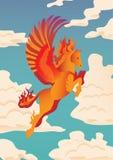 Pegasus vectorillustratie De banner met het vliegen, sinaasappel, vlamde Pegasus op wolkenachtergrond Magische dierlijke illustra royalty-vrije illustratie