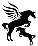 Pegasus vektorsilhouette stock illustrationer