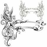 Pegasus voou o illus animal fantástico do vetor da decoração heráldica Fotografia de Stock