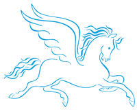 Pegasus Winged Horses Silhouettes Stock Image
