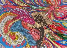 Pegasusachtergrond met borstel op het venster Stock Afbeelding