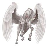 Pegaz jednorożec Oskrzydlony Rogaty koń royalty ilustracja