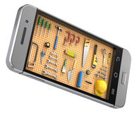 Pegboard in the mobile phone Royalty Free Stock Image