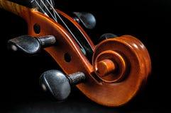 Pegbox скрипки и деталь переченя Стоковое Изображение