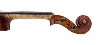 Πλάγια όψη του λαιμού, pegbox και του κυλίνδρου βιολιών Στοκ εικόνα με δικαίωμα ελεύθερης χρήσης