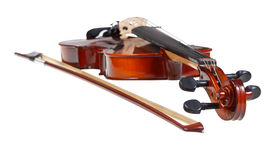 Pegbox of classical modern violin and french bow Stock Photography