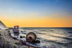 Pegelhaus viejo en la costa del cabo Arkona Fotografía de archivo
