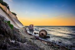 Pegelhaus viejo en la costa del cabo Arkona Fotografía de archivo libre de regalías