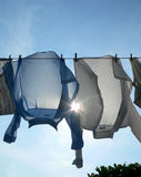 Pegged Shirts Drying. Two Pegged Shirts Drying stock photo