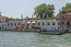 Peggy Guggenheim museum, Venice, Italy. Boats at Canal Grande in front of the Peggy Guggenheim museum in the city of Venice in Italy Stock Photos