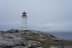 Peggy's Cove Lighthouse. The iconic lighthouse in Peggy's Cove, Nova Scotia, Canada royalty free stock image