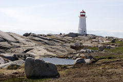 Peggy's Cove Lighthouse. Halifax, Nova Scotia, Canada Stock Photography
