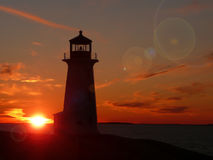 Peggy's Cove lighthouse with flare Royalty Free Stock Image