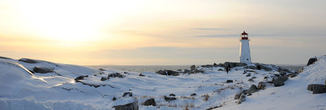 Peggy's Cove Lighthouse in Winter Royalty Free Stock Photography