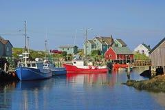 Peggys Cove. Fishing boats at dock in Peggys Cove, Nova Scotia Stock Photos