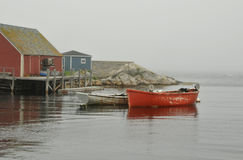 Peggy's Cove. Picturesque village of Peggy's Cove, Nova Scotia, on a foggy summer day stock photo