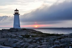 Peggy`s Cove at Sunset stock images