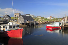 Peggy's Cove village and fisherman boats, Nova Scotia Stock Image