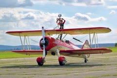 Peggy Walentin auf airshow in Cheb Lizenzfreies Stockbild