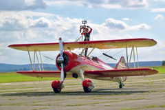 Peggy Walentin op airshow in Cheb Royalty-vrije Stock Afbeelding