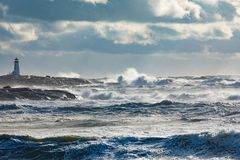 Peggys-Bucht-Leuchtturm NS Kanada Lizenzfreie Stockfotografie