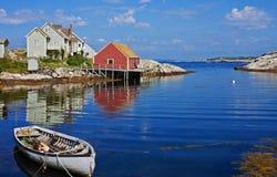 Peggys Cove harbor, Nova Scotia. Picturesque Peggys Cove harbor with boat, Nova Scotia, Canada Royalty Free Stock Photo