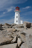 Peggys Cove Lighthouse. The iconic lighthouse at Peggys Cove, Nova Scotia, against a blue sky Stock Images