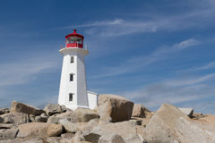 Peggys Cove Lighthouse. The iconic lighthouse at Peggys Cove, Nova Scotia, against a blue sky Stock Photography