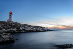 Peggys Cove's Lighthouse at Dusk Royalty Free Stock Photography