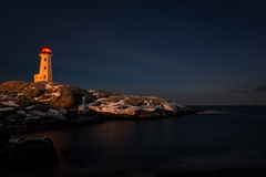 Peggys Cove's Lighthouse at Night Royalty Free Stock Image