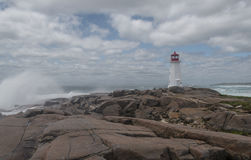 Peggys Cove's Lighthouse at Storm Stock Image