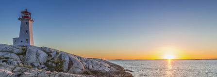 Peggys Coves Lighthouse at Sunset stock photography
