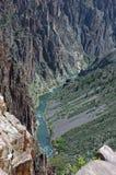 Pegmatite at Black Canyon. Foreground, pegmatite dike at the Black Canyon of the Gunnison Stock Photos