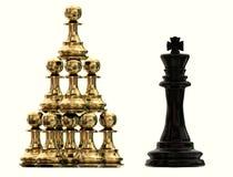 Pegni di scacchi di colaboration di lavoro di squadra di vantaggio competitivo e re dorati - rappresentazione 3d fotografia stock libera da diritti