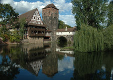 Pegnitz flodplats, Nuremberg Arkivfoton