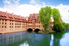 Pegnitz River in Nuremberg from Fleisch Bridge Stock Images