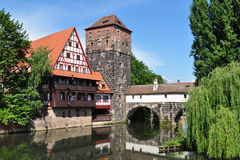 Pegnitz riwer view from Charles bridge,Nuremberg Stock Photos