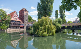 Pegnitz Weinstadel panorama Arkivbilder