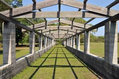Pegola at Dungeness. Pergola at the Dungeness ruins at Cumberland Island, Georgia, on a sunny spring day stock photography