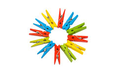Pegs clip in colorful Stock Image