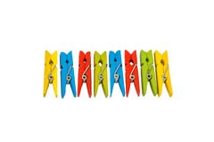 Pegs clip in colorful Royalty Free Stock Photography