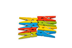 Pegs clip in colorful Royalty Free Stock Photo